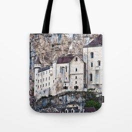 Medieval Facade of the French Castle in Rocamadour Tote Bag
