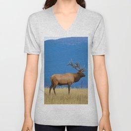 Bull elk in Jasper National Park Unisex V-Neck