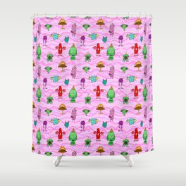 pink wave monster pattern, cute joyful,red green,purple,creatures funny Shower Curtain