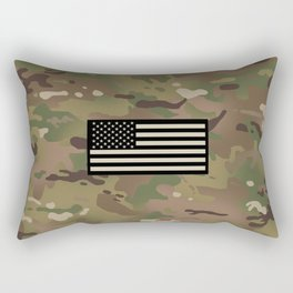 U.S. Flag: Woodland Camouflage Rectangular Pillow