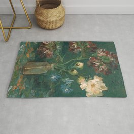 Peonies and Blue Delphiniums by Vincent van Gogh Rug