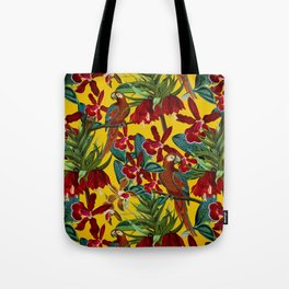 Vintage & Shabby Chic - Colorful Parrots tropical Jungle Pattern Tote Bag