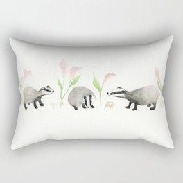 Badgers, Calla Lilies and Mushrooms Rectangular Pillow
