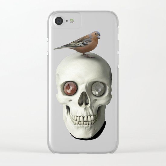 Skull  & bird, watercolor Clear iPhone Case