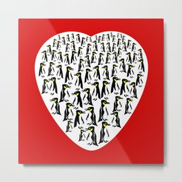 Penguins Clustered into Heart Shape Metal Print