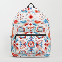 Folkloric Lovebirds Textile Pattern Backpack