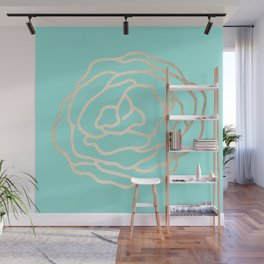 Flower in White Gold Sands on Tropical Sea Blue Wall Mural