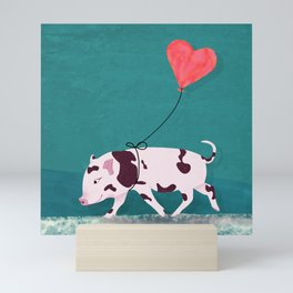 Baby Pig With Heart Balloon Mini Art Print