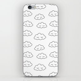 Dreaming clouds in black and white iPhone Skin