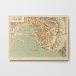 Map Of Genoa 1910 Metal Print