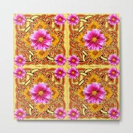 Yellow & Brown Celtic Design Yellow Art Purple Dahlias Metal Print