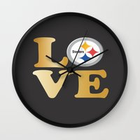 pittsburgh Wall Clocks featuring Pittsburgh Steelers_Love by Doodles & Designs by NK