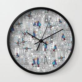 birds and rockets Wall Clock