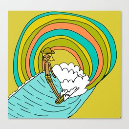 groovy vibes hang 10 by surfy birdy Canvas Print