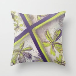 Purple green spray paint Throw Pillow