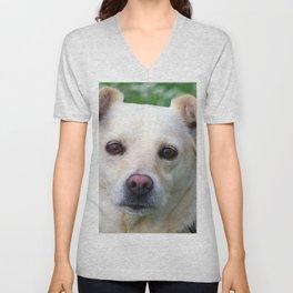 Blond dog portrait Unisex V-Neck
