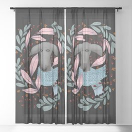 Gray Whippet in Florals Sheer Curtain