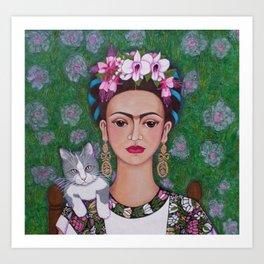 Frida cat lover closer Art Print