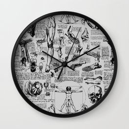Da Vinci's Anatomy Sketchbook // Silver Wall Clock