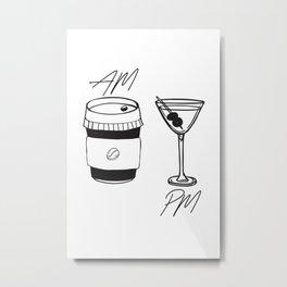 AM Coffee PM Martini Metal Print