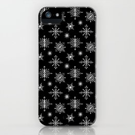 Winter in black and white - Snowflakes pattern iPhone Case