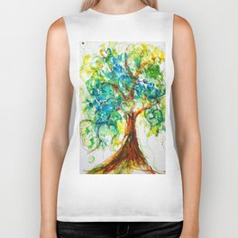 Gold Heart Tree Watercolor by CheyAnne Sexton Biker Tank