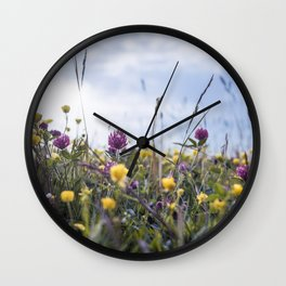 Buttercups and clover Wall Clock
