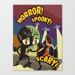 alien space invader horror film vintage poster Canvas Print