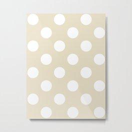 Large Polka Dots - White on Pearl Brown Metal Print