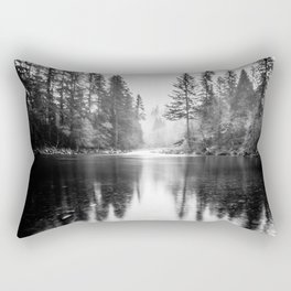 Forest Reflection Lake - Black and White  - Nature Photography Rectangular Pillow