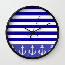 Blue Stripes Anchor Wall Clock