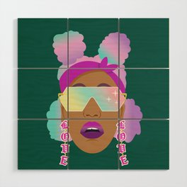 Top Puffs Girl #naturalhair #rainbowhair #shades #lipstick #blackunicorn #curlygirl Wood Wall Art