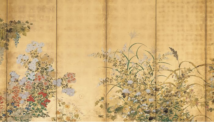 Japanese Edo Period Six-Panel Gold Leaf Screen - Spring and Autumn Flowers Pillow Sham