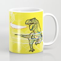 t rex Mugs featuring T-Rex by Mr Patch