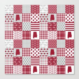 Alabama bama crimson tide cheater quilt state college university pattern footabll Canvas Print