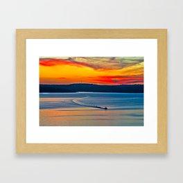 Travis Lake at Sunset Framed Art Print