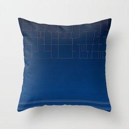 Digital Dark Navy Blue Ombre Fine Lines Throw Pillow
