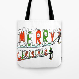 """Merry Christmas Penguins"" Tote Bag"