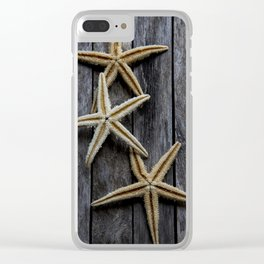 Starfishes in wooden Clear iPhone Case