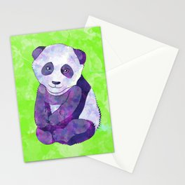 Cute  Purple Panda Bear  on green Stationery Cards