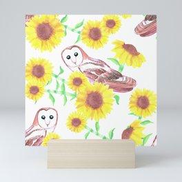 Barn owls and Sunflowers watercolor art Mini Art Print