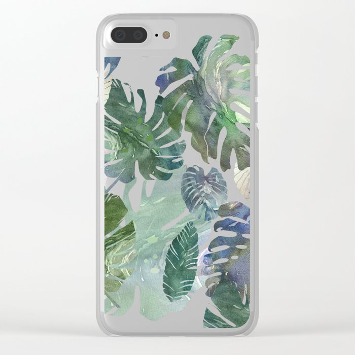 tropical leaves collab Clear iPhone Case