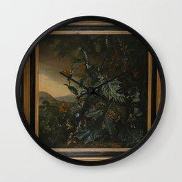 Matthias Withoos - Distels en andere bloeiende planten in een landschap Wall Clock