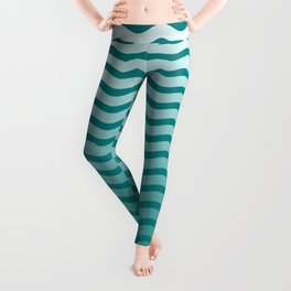 Teal and White Faded Chevron Wave Leggings