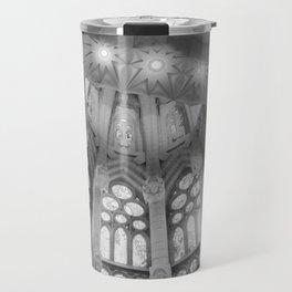 Stained Glass Sagrada Familia BW Travel Mug
