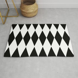 LARGE  WHITE AND BLACK   HARLEQUIN DIAMOND PATTERN Rug