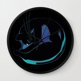 Sleeping MoonCat (fluorescent variant) Wall Clock