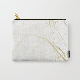 Paris Gold and White Street Map II Carry-All Pouch