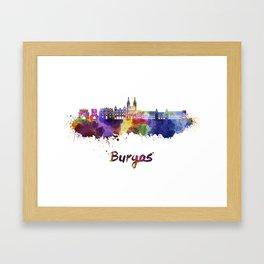 Burgos skyline in watercolor Framed Art Print