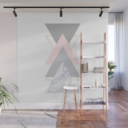 Blush Marble Gray Gold Geometric Pattern Wall Mural